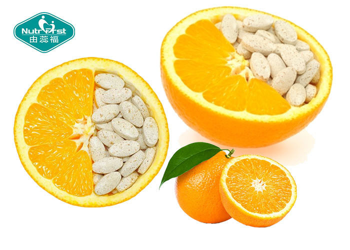 Natural Color Chewable Vitamin C Smaller Dosage Oval Or Oblong Shape